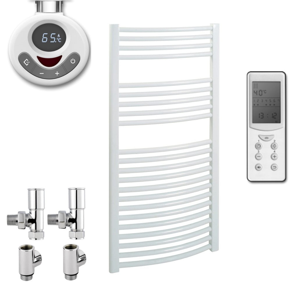 Bellerby curved towel warmer heated towel rail white - Electric bathroom radiators with timer ...
