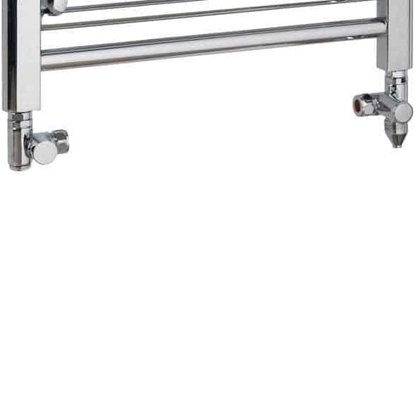 Dual Fuel Towel Rail Kit A PTC Heating Element Chrome Round Valves 1