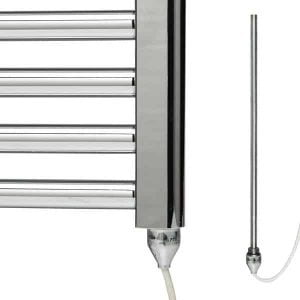 Electric PTC Heating Element for Towel Rail Radiator Conversion White & Chrome 1