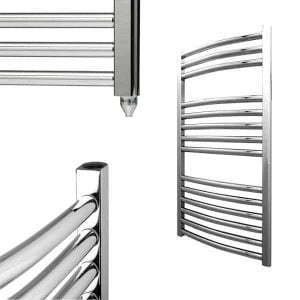 Electra Electric Curved Heated Ladder Rail Towel Warmer Rack Classic Chrome/White