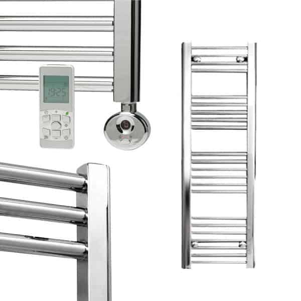 Electra Thermostatic Electric Straight Heated Ladder Rail Towel Warmer Rack Classic Chrome/White/Anthracite