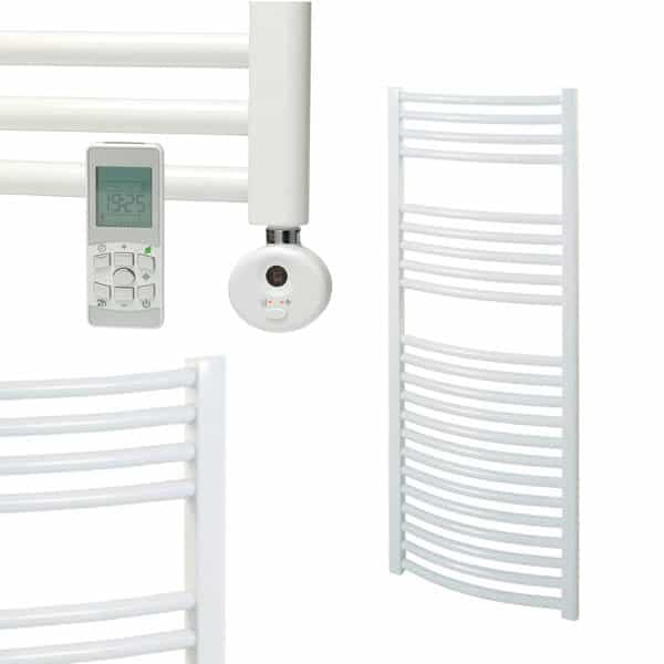 Electra Thermostatic Electric Curved Heated Ladder Rail Towel Warmer Rack Classic Chrome/White