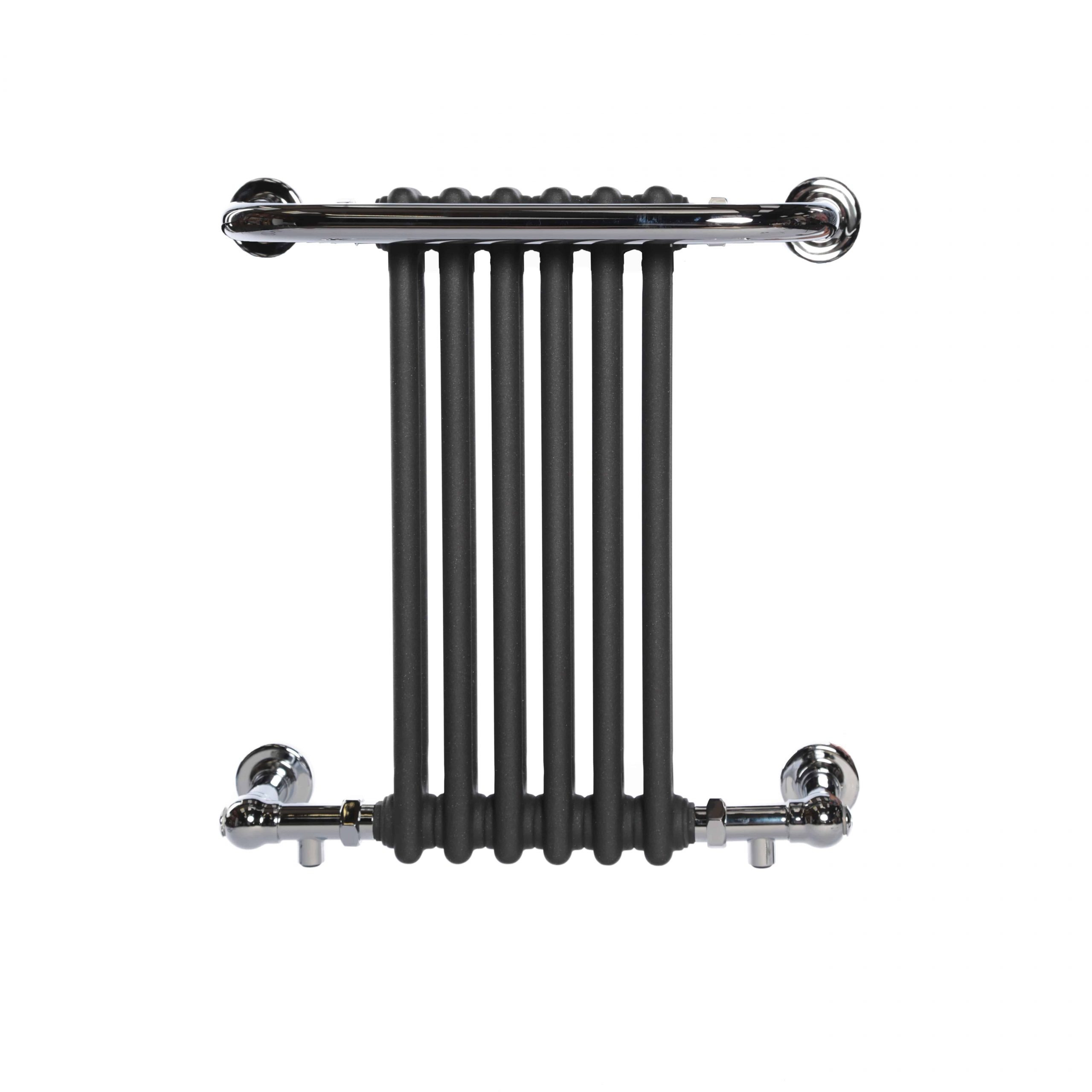 Welbury Traditional Victorian Radiator With Towel Rail Central Heating Chrome White Grey