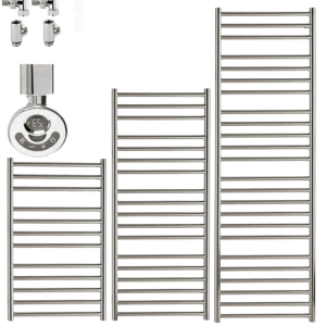 Barden Stainless Steel Heated Towel Rail / Warmer - Duel Fuel, Thermostat + Timer